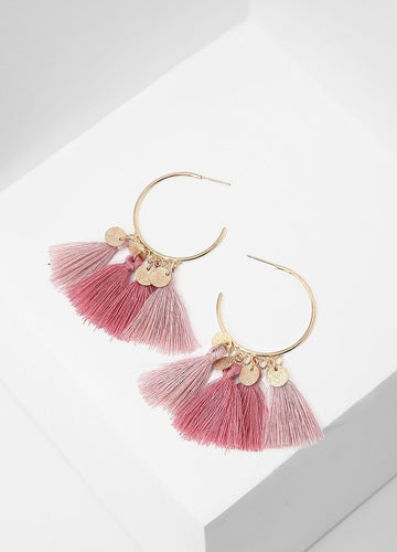 Tassels And Spangles Earrings (red/pink) Earrings - FIACCI