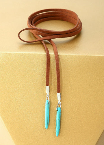 Cowgirl Lariat Turquoise Necklace (brown) Necklaces - FIACCI