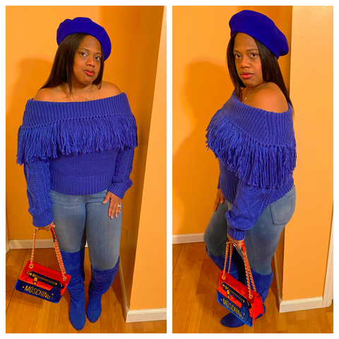 """BLOOMING BLUE"" Off Shoulder Fringed Sweater"