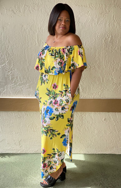 """BRIGHTEN YOUR DAY""  Off The Shoulder Maxi Dress"