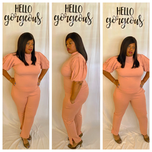 """CAREER CUTIE"" Puff Sleeve Pants Set"