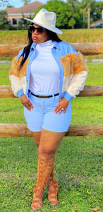 """COCO LOVE""  Color Block Faux Fur Denim Jacket"
