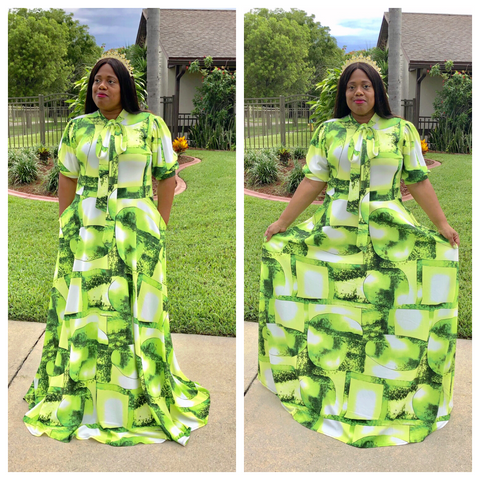 """AUGUST QUEEN"" Maxi Dress With Bowtie and Pockets"