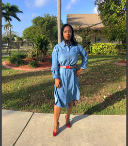 """DENIM DIVA""  Long Sleeve Denim Maxi Dress With Belt"