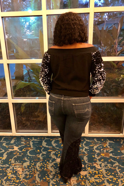 """HOLIDAY HOTTIE"" Off The Shoulder Sequins Bomber Jacket"