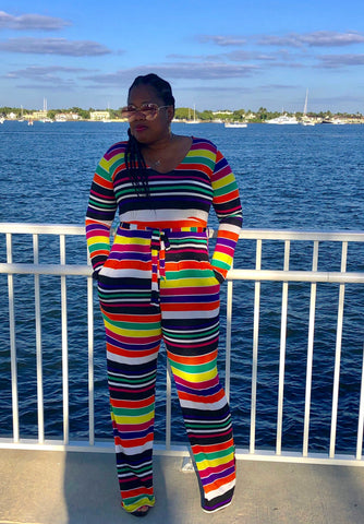 """TROPICAL PUNCH"" Stripe Jumpsuit"