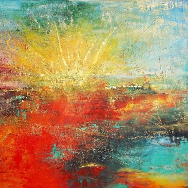 """Sunrise"" by Nino Anin, Mixed Media on Canvas"