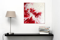 """Red and White 1"" by Monica Gorini, Mixed Media on Wood"