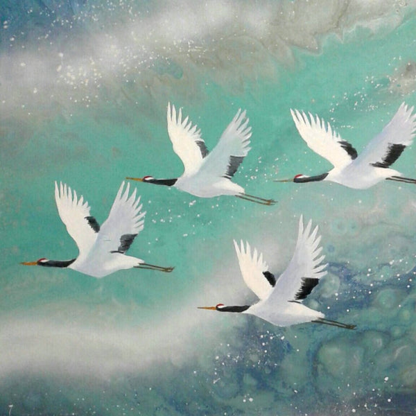 """Peaceful Flight"" by Wabe, Mixed Media on Canvas"