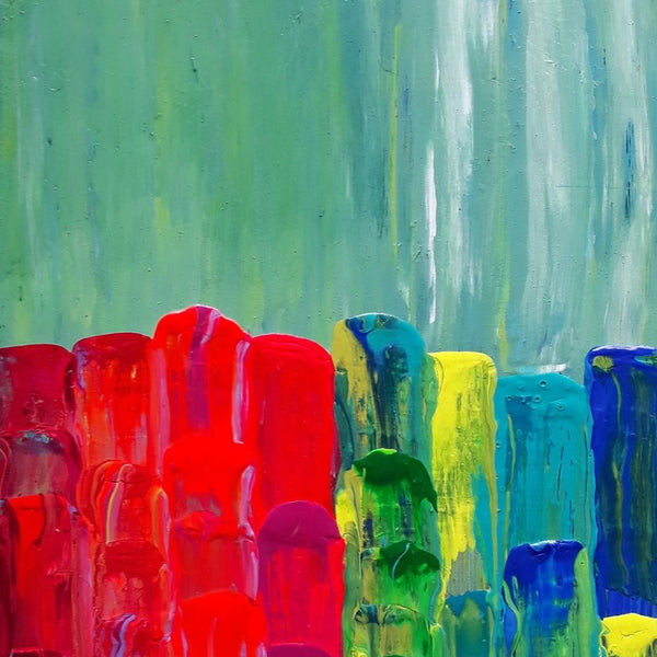 """Fiesta de Colores"" by Sandra Pallotta, Acrylic on Wood"