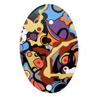 """Evolving"" by Josh Spivack, Mixed Media on Oval Convex Canvas"
