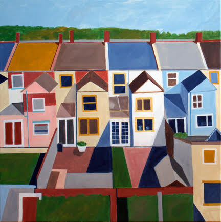 """Hampstead Backyard"" by Toni Silber-Delerive, Acrylic on Canvas"