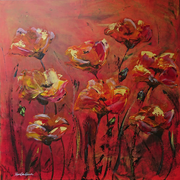"""Red Poppies"" by Fiona Skei Bech, Acrylic on Canvas"