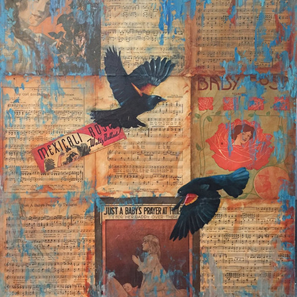 """Blackbirds"" 'by Adam Thomas, Mixed Media on Antique Sheet Music, Mounted on Panel"
