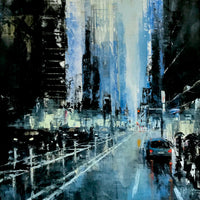"""Blue Afternoon in NYC"" by Martin Koester, Oil on Panel"