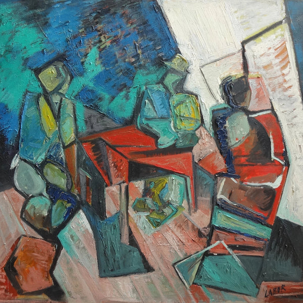 """Card Players"" by Labor Robert, Oil on Canvas"
