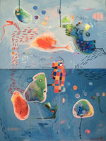 """Dream About A Cold Ocean"" by Malgosia Kiernozycka, Diptych Painting on Canvas"