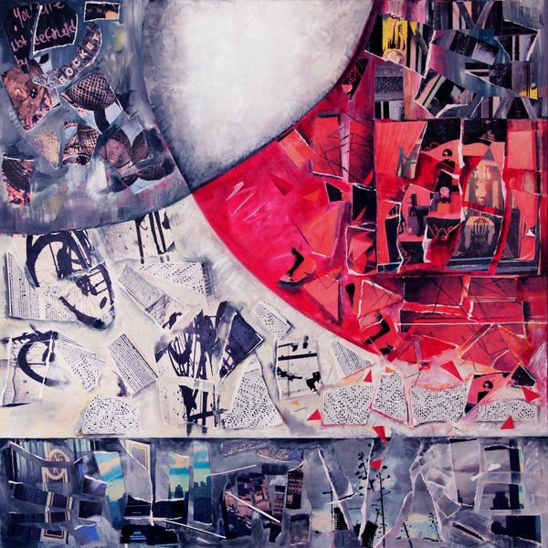 """Falling Pieces"" by Carol Weinberg, Mixed Media on Canvas"
