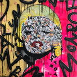 """Marilyn Monroe"" by Diana Wahlborg, Acrylic, Collage, and Gold Leaf on Canvas"