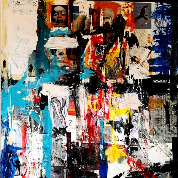 """True Leather"" by Tiberio Savonuzzi, Mixed Media on Canvas"