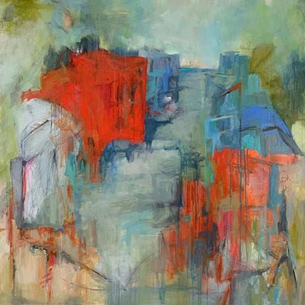 """Beach Boxes"" by Britt Bair, Acrylic and Mixed Media on Canvas"
