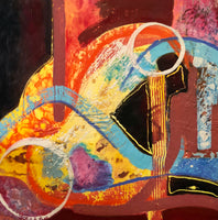 """Strummin' Along"" by Caryl Gordon, Mixed Media on Wood Panel"