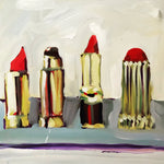 """Lipstick Lovers"" by Megan Coonelly, Acrylic on Canvas"