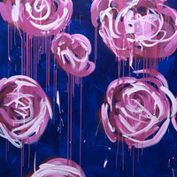 """Roses on Navy"" by Megan Coonelly, Acrylic on Canvas"