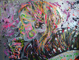 """Kurt (Where Did You Sleep Last Night)"" by Vaya, Acrylic, and Oil, Print on Metal"