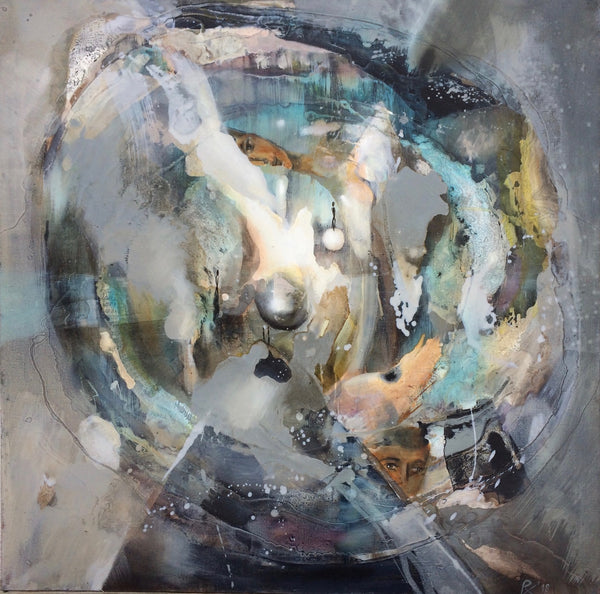 """In a Maze"" by Baiba Redere, Mixed Media on Canvas"