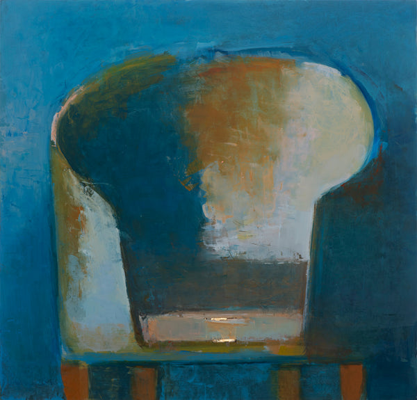 """Large Blue"" by Elena Zolotnitsky, Oil and Gold Leaf on Mylar Mounted on Panel (Framed)"