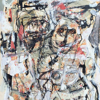"""Man and Woman: At the Gate"" by Judith Lindbloom, Mixed Media on Paper"