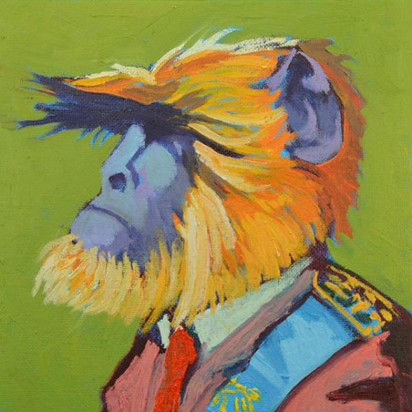 """Monkey King"" by Miguel Reyes, Oil on Board"