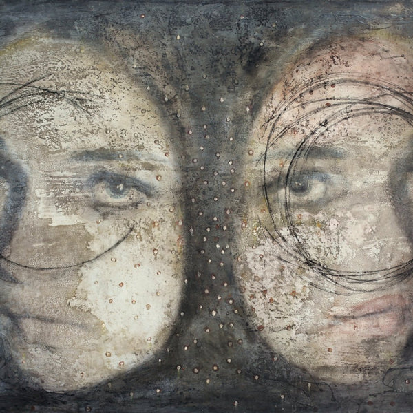 """Moon"" by Simona Fedele, Mixed Media on Wood"
