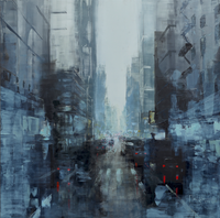"""NYC Blue Noon I"" by Martin Koester, Oil on Panel"