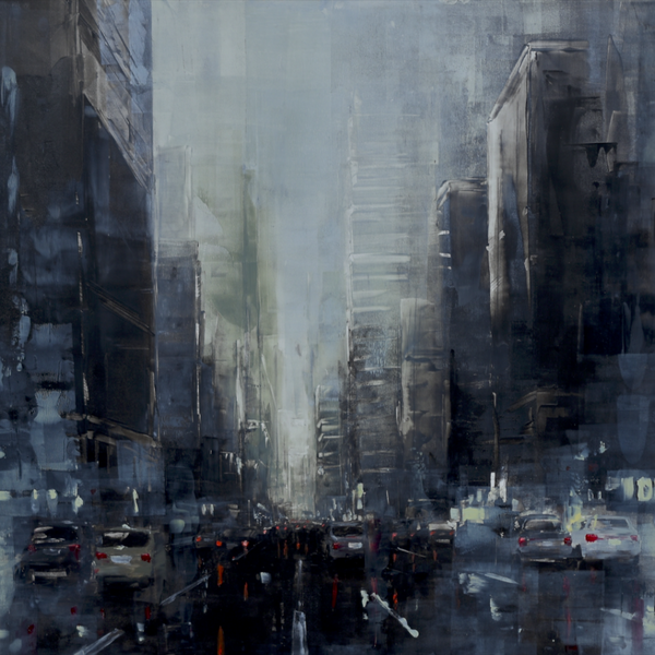 """New York Dark Afternoon VI"" by Martin Koster, Oil on Panel"