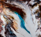 """Pinnacle"" by Camille Hurst, Encaustic with Oils on Cradled Board"