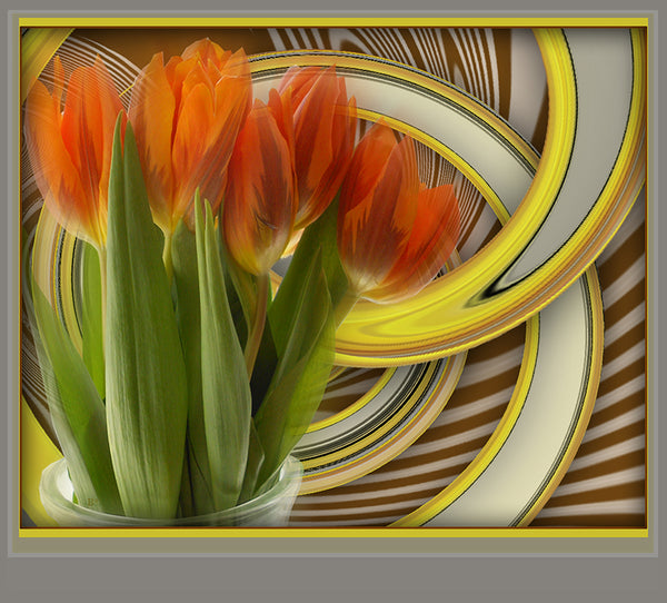 """Power Bouquet"" by Brenda Star, Digital Abstract on Glossy Metal"