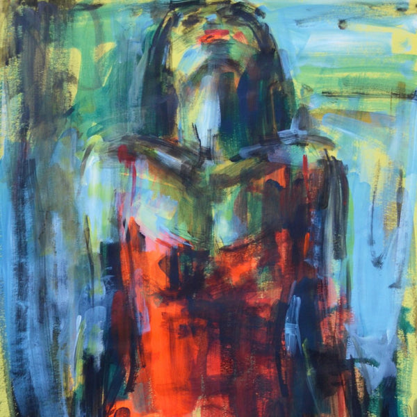 """Red Dress"" by Nelina Trubach-Moshnikova, Acrylic on Paper"