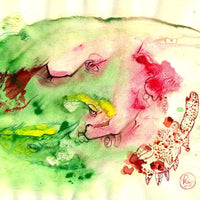 """Primordial Soup by Katja Tomzig, Watercolor and Watercolor Pencil on Paper"
