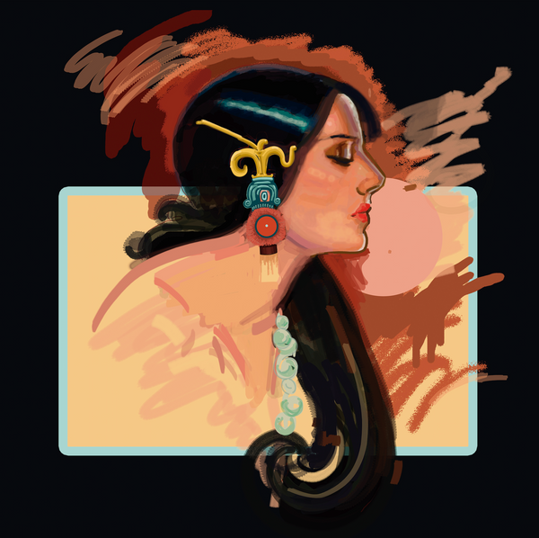 """Malinche"" by Brenda Pineda (Niña Volcán), Digital Painting on silk screen print"