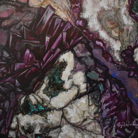 """Amethyst Surprise Geode"" by Crystal Dombrosky, Acrylic on Canvas"
