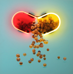 """Emoji Dose"" by Sara Zaher, Neon Tubes on Photographic Print on Aluminum Dibond"