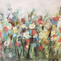 """Mixed Dasies"" By Sallie Otenasek, Acrylic on Pine Board"