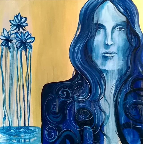 """Gold / Blue"" By Daniele Bianchi, Oil on Canvas"