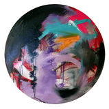"""Just Let It Flow"" by Josh Spivack, Mixed Media on Convex Round Canvas"