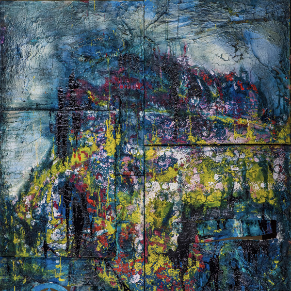 """Landscape"" by Mirjam Groothedde, Mixed Media on Wooden Gate"