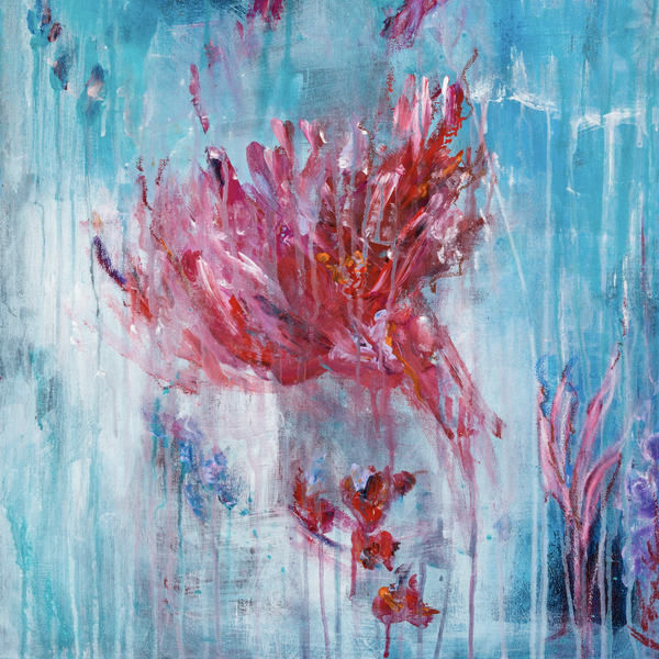 """Pink Thought"" by Yvonne Franke, Mixed Media on Canvas"