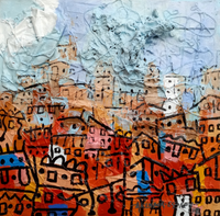 """Imaginative Settlement"" by Eghosa Raymond Akenbor, Mixed Media on Canvas"