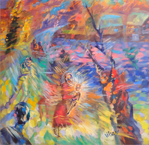 Second Coming of Christ by Vigen Sayadyan, Oil on Canvas